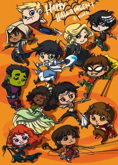 Jason: Super Boy Piper: Edward (Assassins Creed) Percy: Water Tribe Member (Avatar) Leo: Robin Frank: Beast Boy Hazel:Tiana Rachel: Merida Reyna: Attack On Titan Nico: Death the Kid (Soul Eater)