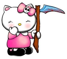 cute n evil hello kitty inferi grim reaper of dead souls n doom with pink skull bow and bloody sickle 1.25 inch button pin badge halloween. $1.00, via Etsy.