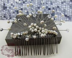 Winter Twilight Bridal Hair Comb, neutral palette, freshwater pearls, Swarovski crystal, hair accessory, wedding, bride - reynared…