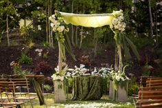 Sage and Lavender wedding ceremony | Chuppah for apple green wedding ceremony at Deer Valley Resort Utah