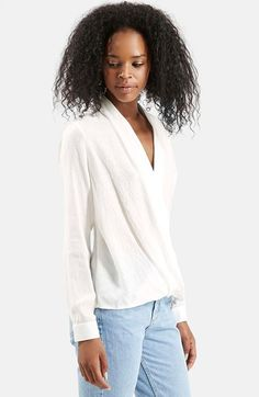 Topshop Drape Front Blouse available at #Nordstrom