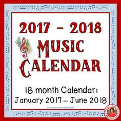 Music Calendar 2017 - 2018.   ♫ CLICK through to preview or save for later!  ♫