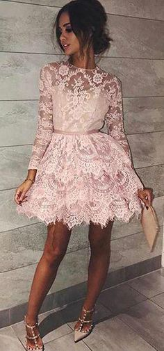 Pink A Line Short Long Sleeves Lace Mini Homecoming Dress OKB34 #lace #longsleeves #short #pink #aline #homecoming #okdresses