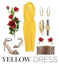 """""""In La La Land: Yellow Dresses"""" by michele-nyc ❤ liked on Polyvore featuring Rick Owens, Manolo Blahnik, Jimmy Choo, GUESS, Ippolita and Michael Kors"""