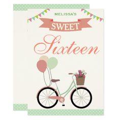 #Cute Bicycle Sweet Sixteen 16 Birthday Invitation - #birthdayinvitation #birthday #party #invitation #cool #parties #invitations