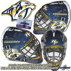 2015 NASHVILLE PREDATORS Team Signed FULL-SIZE GOALIE MASK w/COA - WEBER RINNE - Autographed NHL Helmets and Masks ** Read more  at the image link.