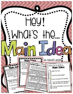 Main Idea and Supporting Details Lessons and Task Cards