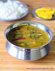 Palak keerai sambar / pasalai keerai sambar for rice. Learn how to make Palak sambar / Spinach sambar with step by step pictures. Best Vegetarian Recipes, Lentil Recipes, Chutney Recipes, Curry Recipes, Ayurveda, Veg Recipes Of India, Indian Food Recipes, Sambhar Recipe, Rasam Recipe
