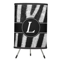 Zebra Style Pattern With Custom Monogram Tripod Lamp - monogram gifts unique design style monogrammed diy cyo customize
