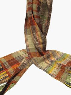 Handwoven scarf  light beige orange and green by KoraWeaving, $85.00