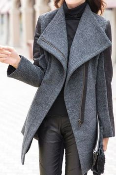 Grey Coat with leather sleeves