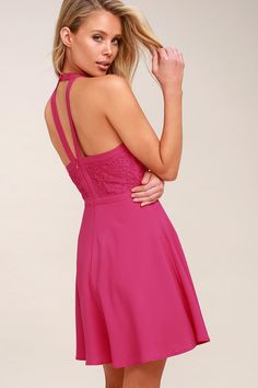 1b3c839bee Lulus Exclusive! The All My Daydreams Fuchsia Lace Skater Dress is cuter  than we could