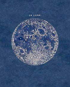 Full Moon Print Poster Vintage Image