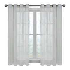 """Odor-neutralizing sheer curtain panel.   Product: Window panelConstruction Material: 100% PolyesterColor: WhiteFeatures:  Neutralizes household odorsCoordinates with existing curtain panels and valances Dimensions: 63"""" H x 59"""" WNote: Decorative rod sold separately. Panels priced individually."""