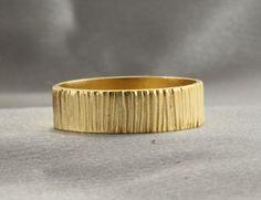 Tree Bark 18K Yellow Gold Wedding BandHandmade by LIRANSHANI