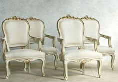 Vintage Shabby Gilt & Soft Green Louis XV French Style Armchairs. FrenchGardenHouse.com