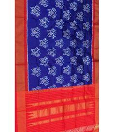 Blue Handloom Single Ikat Pure Silk Dupatta