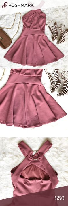 • Topshop Dress • This Topshop dress is stunning! It features a skater skirt bottom & silver ring on a strappy back. This mauve pink color has been my favorite this season!  • Ask all questions prior to purchase • Bundle & save  • Feel free to make your best offer!  _____  @Cynthaaa - From Me to You Topshop Dresses Mini