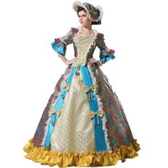 mingsha Women's Luxury Medieval/Renaissance Colonial Belle Queen Gown One Size Blue - Click image twice for more info - See a larger selection of Women Medieval Renaissance Costumes at http://costumeriver.com/product-category/womens-medieval-renaissance-costumes/  - women, halloween costumes, halloween fashion , classic costume, holidays, event, trick or treat , gift ideas, costumes, disguise.