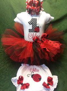 Lady Bug Birthday Outfit by InspirationBoutique on Etsy One Year Birthday, 1st Birthday Outfits, 1st Birthday Parties, Birthday Ideas, Ladybug Party, Different Fonts, Baptism Party, Love Bugs, Lady Bug