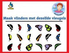 Maak goede vlinders, spiegelen met kleuters op digibord of computer  op kleuteridee, Kindergarten math game for IBW or computer