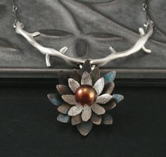 Floral Branch Necklace--Sterling Silver Lotus Blossom Pendant Set with Genuine Brown Fresh Water Pearl, by blazerarts