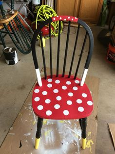 Minnie Mouse time out chair. Hand Painted Chairs, Painted Stools, Hand Painted Furniture, Paint Furniture, Kids Furniture, Painted Rocking Chairs, Timber Furniture, Upcycled Furniture, Bedroom Furniture