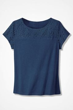 Lace-Topped Slub Tee, Dark Dusty Blue