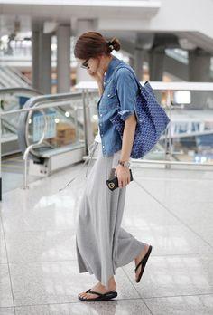 The best chambray shirtdress 18 ~ Litledress Japan Fashion, Daily Fashion, Everyday Fashion, Looks Style, Casual Looks, Casual Outfits, Fashion Outfits, Womens Fashion, Fashion Models