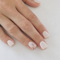 Short and Squared Acrylic Nails! We just love that accent nail! Follow us on Instagram: nailbarbeautylounge