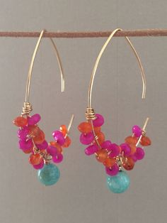 Wire Wrapped Gemstone Earrings 14k Gold by ClassyChicDesigns4u