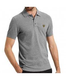 af9b2b5ec78 Mens Lyle   Scott Mid Grey Marl Short Sleeve Polo Shirt Grey Polo Shirt