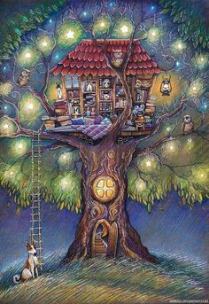 Tree House by Lena Nokeek - obviously the tree-house of a book-lover. Tree House by Lena Nokeek - ob Art And Illustration, Fantasy Kunst, Fantasy Art, Whimsical Art, Cute Art, Book Worms, Book Lovers, Illustrators, Book Art