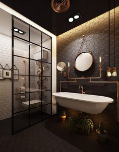 Modern industrial interior design is a returning trend of It is confirmed by numerous publications that have interpreted the guidelines of industrial style over the years. Industrial Bathroom Design, Industrial Interior Design, Industrial House, Bathroom Interior Design, Modern Industrial, Home Interior, Bathroom Designs, Bathroom Ideas, Bathroom Rack