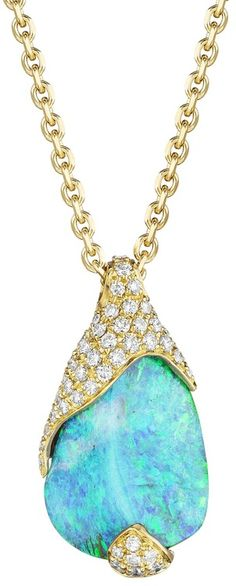 Mimi So ZoZo Boulder Opal and Pave Diamond Necklace 18kt Yellow Gold. ♥✤ | Keep the Glamour | BeStayBeautiful