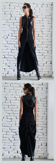 SALE Asymmetric Black Vest / Long Sleeveless Jacket / Oversize Black Top / Extravagant Black Leather Tunic by METAMORPHOZA #assymetricdress #blackdress #leather #tunic #sleeveless #extravagantdress #ad