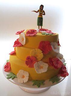 Aloha Hawaiian kid's birthday party...  #hula_girl #cake