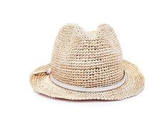 Hat Attack Raffia Crochet Short Brim Fedora