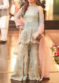 Wedding party ghara set in pink and gray color with dabka threds zari perfect sequence and cutwork Model 296 Pakistani Party Wear Dresses, Shadi Dresses, Pakistani Bridal Dresses, Pakistani Dress Design, Pakistani Outfits, Fancy Dress Design, Stylish Dress Designs, Stylish Dresses, Indian Designer Outfits