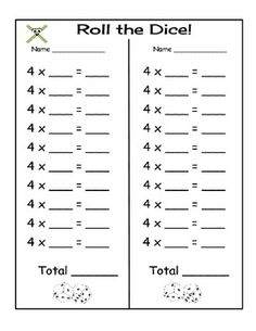 ROLL THE DICE - MULTIPLICATION GAME - TeachersPayTeachers.com