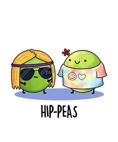 'Hip-peas Food Pun' Sticker by punnybone Funny Food Puns, Punny Puns, Cute Puns, Silly Jokes, Food Humor, Funny Cute, Dad Puns, Cute Jokes, Jokes Kids