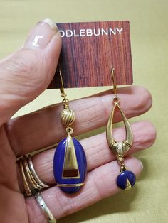 Asymmetric Purple Enamel Drop Earrings – TOODLEBUNNY