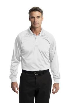 Buy the CornerStone - Select Long Sleeve Snag-Proof Tactical Polo Style CS410LS from SweatShirtStation.com, on sale now for $32.28 #polo #longsleeve #cornerstone White
