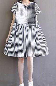 a8d5aec0143 Women loose fit over plus size retro sailor stripes chiffon tunic dress chic