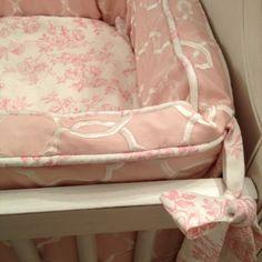 Detail shot of custom pink rose baby bedding