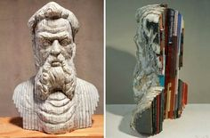 """The incredible carved books by artist Long-bin Chen"" -- Click through for ""a selection of the incredible creations of the artist Long-bin Chen, based in New York, who transforms books and telephone directories into stunning sculptures inspired by ancient Greece, Buddhist art or medieval Japan."""