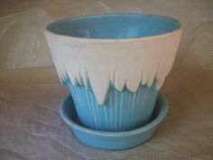1950's McCoy Pottery Icicle Pot and Attached by 3CoolSisters