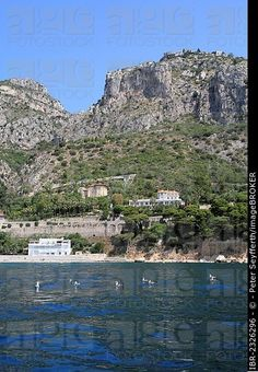 Eze Village and Eze Bord de Mer seen from the sea, Côte d'Azur, France, Mediterranean, Europe
