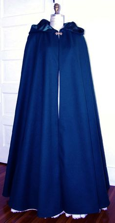 Opera Cloak Dark Blue Velvet Hooded CLOAK Lined in Blue Satin & Large Leaf Clasp #Carpatina #Cape