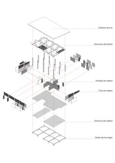 Image 5 of 26 from gallery of Convento House / Enrique Mora Alvarado. Courtesy of Enrique Mora Alvarado Bamboo Architecture, Architecture Drawings, Architecture Design, Axonometric View, Axonometric Drawing, Freetress Deep Twist, Exploded View, Presentation Styles, Architecture Presentation Board